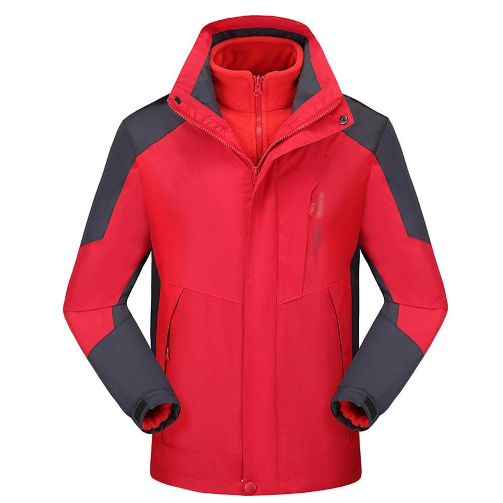 NDHSH Herren Damen Outdoor Jacken Wanderkleidung Fleece Warm 3 in 1 wasserdichte Jacken Sport Regenmantel Winddicht Schnee Ski Jacken,Red(Men's )-XL