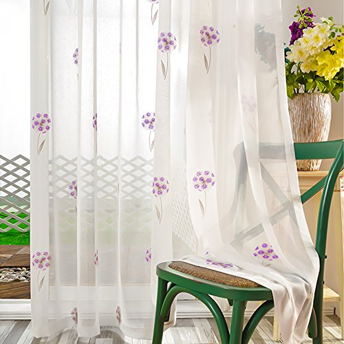 VOGOL 2 Pieces Beautiful Sheer Window Elegance Curtains/Drape/Panels/Treatment, Embroidered Dandelion Rod Pocket Sheer Curtain, 60
