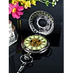 Steampunk Vintage Luminous Roman Letters Skeleton Mechanical Pocket Watch with Chain 8