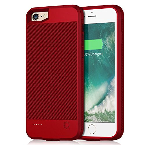 iPhone 6 6s Battery Case, 2800mAh Portable Protective Power Charging Case for iPhone 6 6s (4.7 inch) Extended Battery Charger Case Battery Pack Ultra Slim- Red