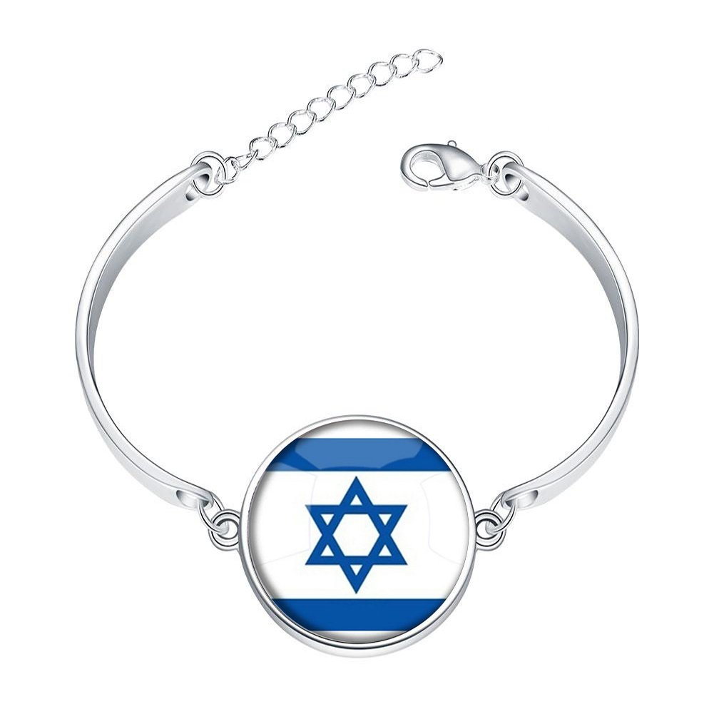 DOME-SPACE Adjustable Silver Bracelets The State of Israel National Flag Hand Chain Link Bracelet Clear Bangle Custom Glass Cabochon Charm