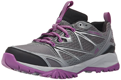 Merrell Women's Capra Bolt Waterproof Hiking Shoe, Grey/Purple, 8 M US by Merrell