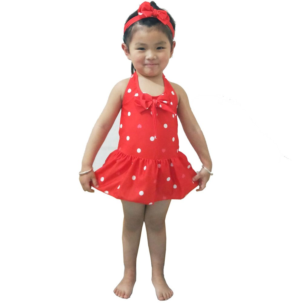 Yober Baby Girls Swimwear One Piece Swimsuits Beach Wear with Headband