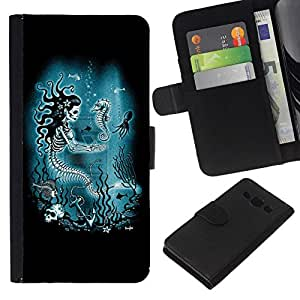 All Phone Most Case / Oferta Especial Cáscara Funda de cuero Monedero Cubierta de proteccion Caso / Wallet Case for Samsung Galaxy A3 // Blue Marine Underwater Skeleton
