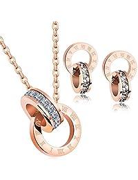 18k Rose Gold Stud Earrings Crystal From Swarovski Earring Jewelry Gifts for Women