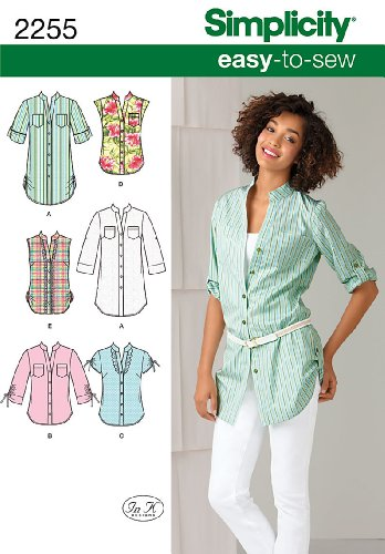 Simplicity Easy-to-Sew Pattern 2255 Misses Tunic or Shirt with Sleeve Variations Sizes 14-16-18-20-22 Easy To Sew Crafts