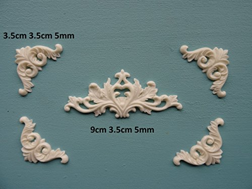 Decorative center and corners x 4 applique onlay furniture moulding O40A ()