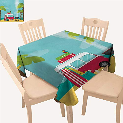 Angoueleven Explore Tassel Tablecloth Caravan Camping with Barbeque and Surf Boards Tropical Beach Banana Coconut Trees Waterproof Table Cloth Multicolor W 54