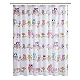 Comfort Spaces Pink/White / Grey Shower Curtain - Howdy Hoot Washable Shower Curtains for Bathroom for Girls - Printed Owl in Gray Purple Blue Orange - 72x72 inches