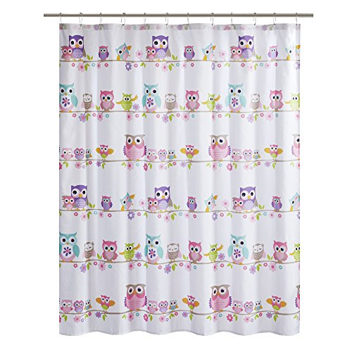 Comfort Spaces Pink/White / Grey Shower Curtain - Howdy Hoot Washable Shower Curtains for Bathroom for Girls - Printed Owl in Gray Purple Blue Orange - 72x72 - For Curtain Girls Shower Purple