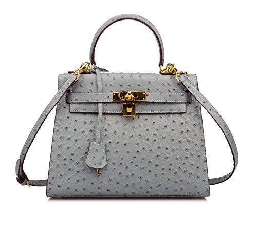 Ainifeel Women's Ostrich Embossed Leather Should Handbag Hobo Bag (28cm-medium, Grey blue)