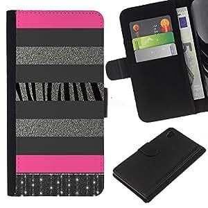 Planetar® Modelo colorido cuero carpeta tirón caso cubierta piel Holster Funda protección Para Sony Xperia Z4 / Sony Xperia Z4V / E6508 ( Líneas de plata del brillo Modelo rosado)