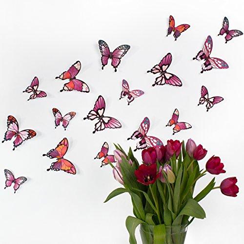 Wandkings 3D Schmetterlinge in verschiedenen PINKTÖNEN mit Ornamenten / Muster, 12 STÜCK im Set mit Klebepunkten