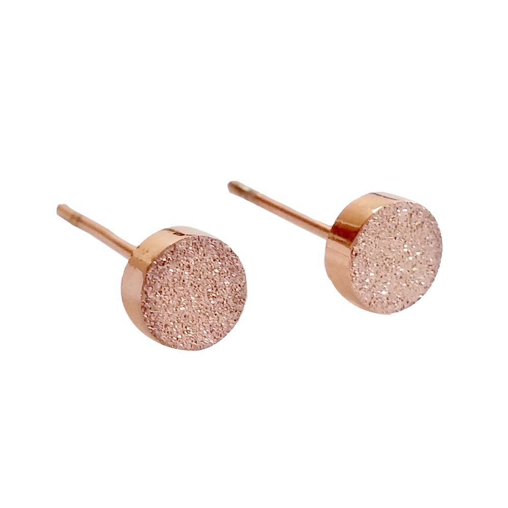 M& T 2015 14K Rose Gold Dust Plated Stud Earring, Stainless Steel A Pair with Gift Box, 5mm Stud Earrings 001