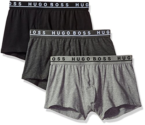BOSS HUGO BOSS Men's Trunk 3p Co/El 10146061 01, Grey/Charcoal/Black, Large (Hugo Boss Underwear Trunk)