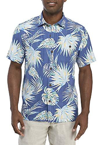 Tommy Bahama Monstera Geo Island Zone Silk Blend Camp Shirt (Color: Dockside Blue, Size L)
