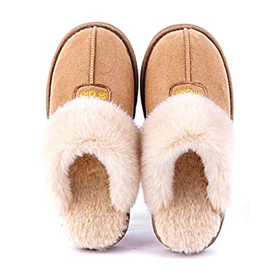 89b665cf840 Ioutfit Men Women Cosy Memory Foam House Moccasin Slippers Fluffy Faux Fur  Indoor Outdoor Shoes (