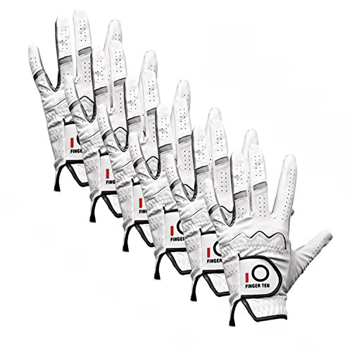 FINGER TEN Men's Golf Glove All Weather 6 Pack, Left Hand Leather Soft Grip, Fit Small Medium Large XL (Large)