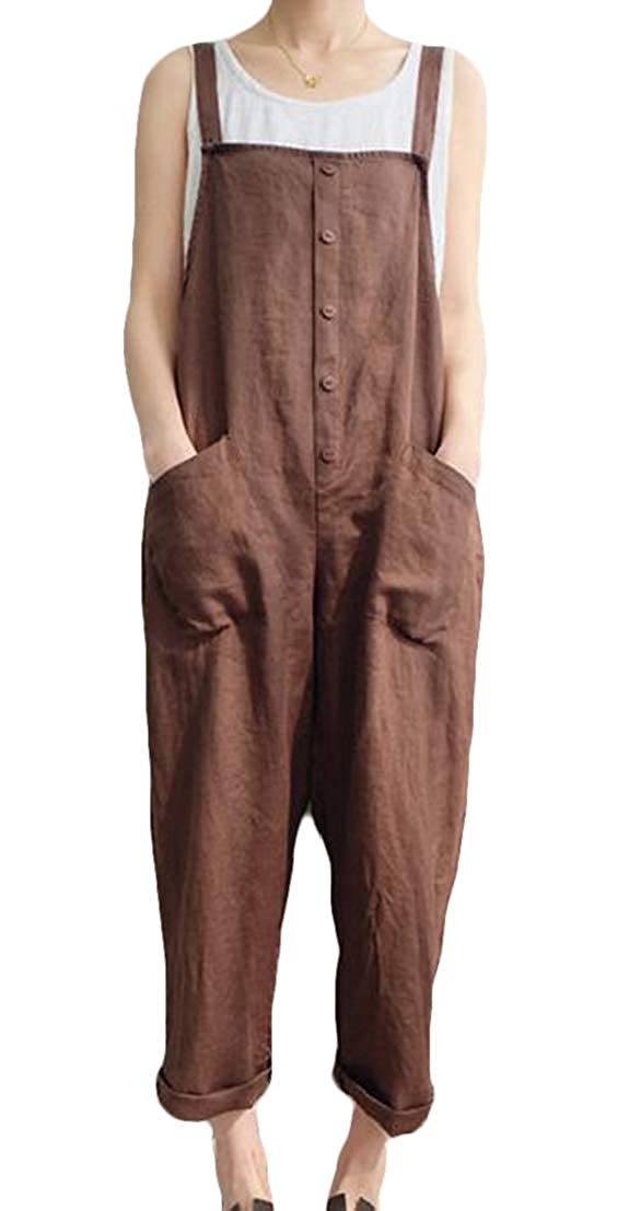 UUYUK Women Plus Size Pure Color Loose Jumpsuit Romper Overalls Pants with Pockets