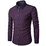 kaifongfu Shirt Mens, Casual Long Sleeve Shirt Business Slim Fit Print Blouse Top (XXXL, Wine Red)