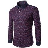 kaifongfu Shirt Mens, Casual Long Sleeve Shirt Business Slim Fit Print Blouse Top (L, Wine Red)