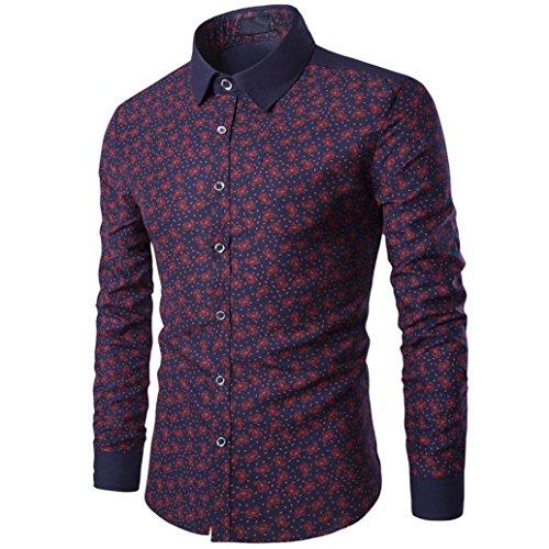 kaifongfu Shirt Mens, Casual Long Sleeve Shirt Business Slim Fit Print Blouse Top (L, Wine Red) by kaifongfu