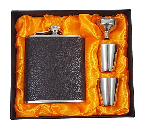 Flask Gift Set - 7 oz Flask Wrapped with Brown Faux Leather with Two Shotglasses and a Funnel ()