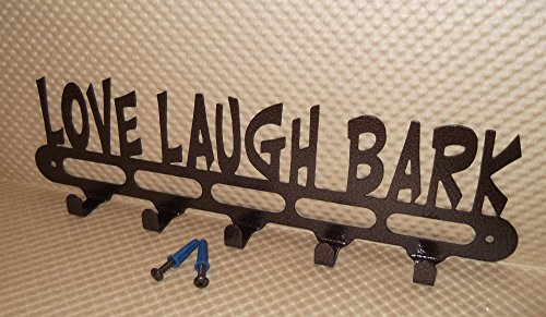 Dog Leash Holder. Love Laugh Bark. Handmade in USA. With Screws. 14.25 inch wide. Copper Vein Color.