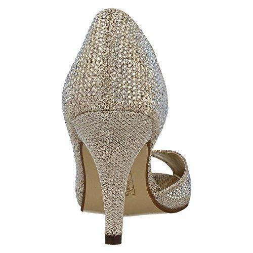 Damen Anne Michelle Seite Cut Out/Peep Toe Anlass Schuhe f10458 Gold / Glitzer