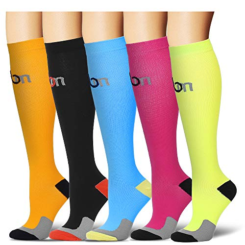 Laite Hebe Compression Socks for Women and Men - Best Medical,for Running, Athletic, Varicose Veins, Travel. (Small/Medium, Assort5)