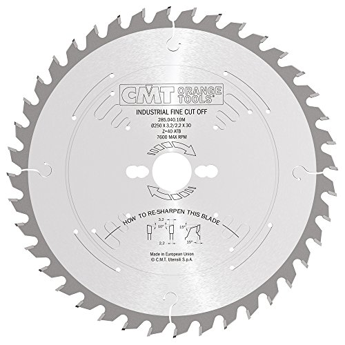 (CMT 285.040.10M Industrial Heavy-Duty General Purpose Blade and  250mm 9-27/32-Inch by 40 Teeth 10-Degree ATB with 30mm Bore)
