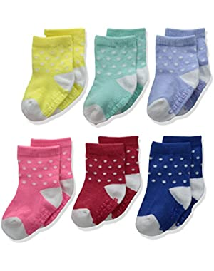 Girls' Crew Socks (6 Pack), Multi, 3-12 MONTHS
