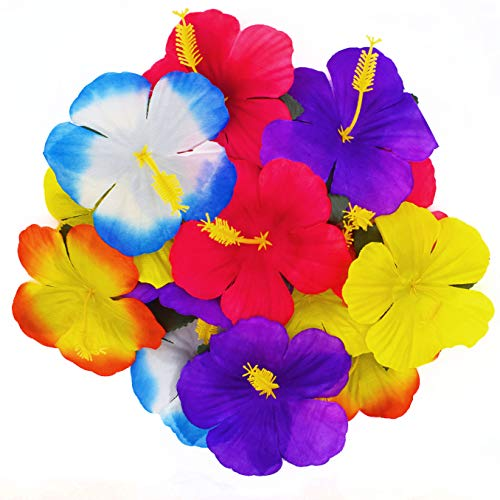 WJBB 90 Pieces Hibiscus Flowers Hawaiian Hibiscus Flowers for Luau Tropical Jungle Party Tabletop Decoration, Assorted Color]()