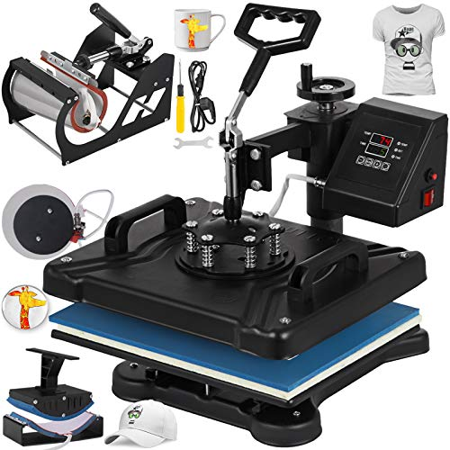 Mophorn Heat Press 12x15 Inch 5IN1 Heat Press Machine Transfer Combo Swing-Away Heat Press Machine for T Shirt Mug Plate Hat Press ()