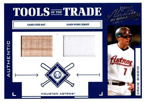 Signed Biggio, Craig (Houston Astros) Unsigned 2004 Playoff Absolute Memorabilia Tools of the Trade Game Used Baseball Bat and Jersey Insert Card. #54/250 autographed