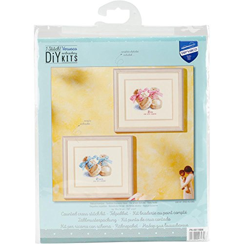 Birth Kit (Pink and Blue Booties Birth Record Counted Cross Stitch Kit 7.75 x 6.5