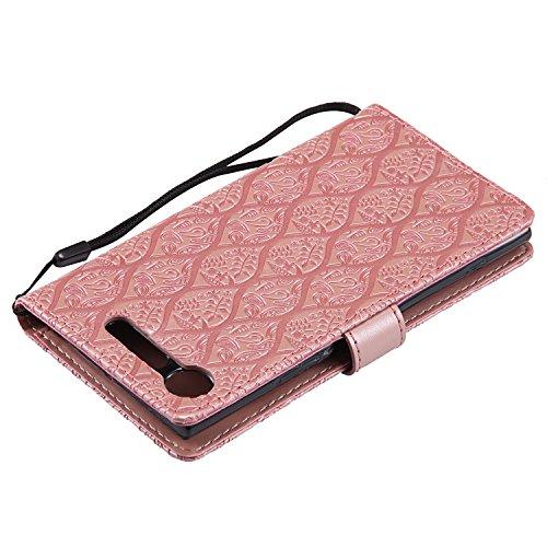 Funda Sony Xperia XZ1, SsHhUu Funda PU Piel Genuino Carcasa en Folio [Ranuras para Tarjetas] [Cierre Magnetico] con Acollador para Sony Xperia XZ1 (5.2) - Púrpura Rose Oro