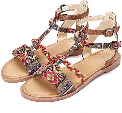 gracosy Flat Sandals for Women, Summer Sandals Gladiator