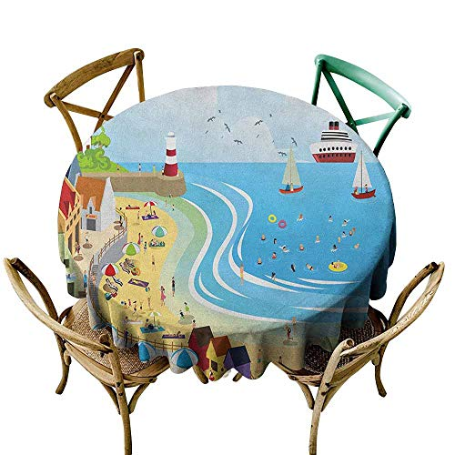 White Round Tablecloth Beach,Tropical Summer Holiday Destinations Cartoon Style Town Illustration Ships Balloon, Multicolor D36,Tablecloth for Wedding