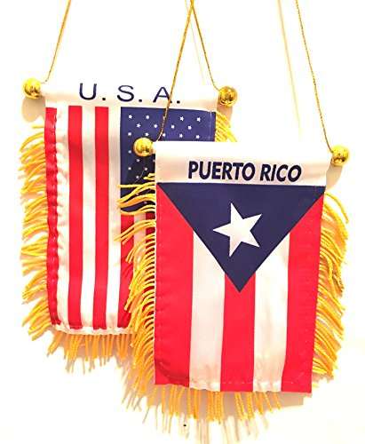 PUERTO RICO Boricua Puerto Rican American Puerto Rico rearview Mirror automobile mini flags 2pc pack 1 Puerto Rico flag 1 USA American flag