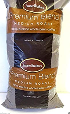 Farmer Brothers Premium Blend 100% Arabica Whole Bean Coffee (1 bag/5 lbs)