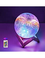 OxyLED Moon Lamp, 16 Colors 4.7 Inch 3D Print LED Galaxy Moon Light Dimmable with Stand Remote Touch Tap Control and USB Rechargeable, Night Lights for Kids Lover Friends Birthday Gifts