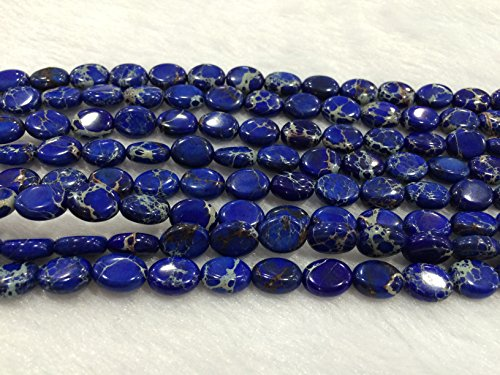 TheTasteJewelry 8x10mm Oval Sea Sediment Dark Blue Jasper Beads 15 inches 38cm Jewelry Making Necklace Healing