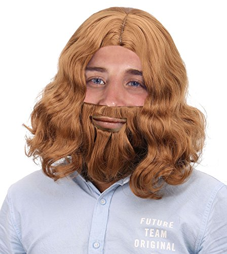 Men's Full Mid-length Wavy Hair & Beard Wig Set for Costume / Cosplay, Light Brown