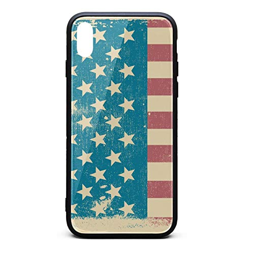 Phonerebey iPhone Xs Max Case,American Flag Retro Patriotic Anti-Scratch Shockproof Slim Cover Case Compatible with Apple iPhone Xs Max Case,TPU and Tempered Glass