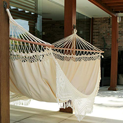 NOVICA Ivory Cotton 1 Person Hammock with Spreader Bars and Crochet Fringe, Tropical Nature Single