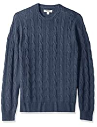 Goodthreads Men's Soft Cotton Cable Stitch Crewneck Sweater