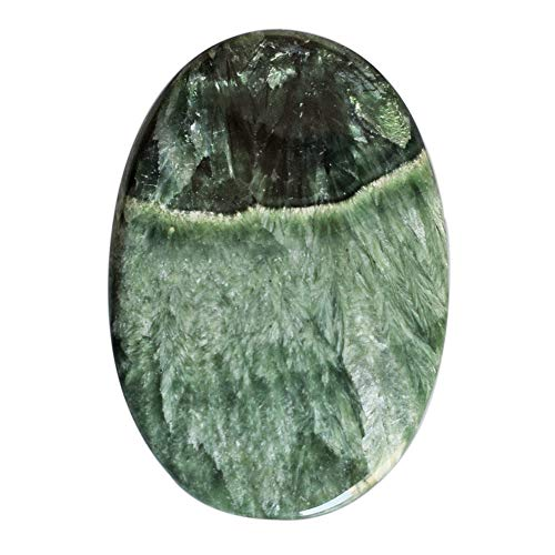 Beautiful Oval Shape Natural Seraphinite Cabochon, Size 35x25x3 MM Green Gemstone for Jewelry Making AG-12525