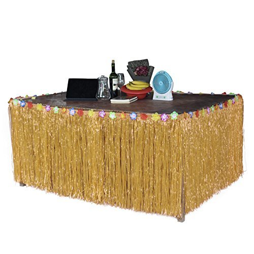 Sc0nni Hawaiian Luau Hibiscus Natural Color String & Colorful Silk Faux Flowers Table Hula Grass Skirt for Party Decoration, Events, Birthdays, Celebration, 9' x 29