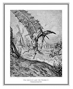 Gustav Dore Don Quijote y el molino impresión enmarcada arte de calidad acabado con textura de lienzo 22x 28